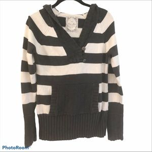 GUESS V-Neck Striped Hooded Sweater